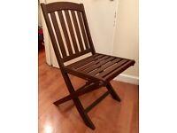 Set of four folding garden chairs - dark wood