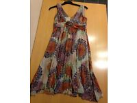 SIZE 12 PRINCIPLES PETITE MUTED PURPLES/ORANGE FULLY LINED FLOATY DIP HEM DRESS WORN 2/3 TIMES ONLY