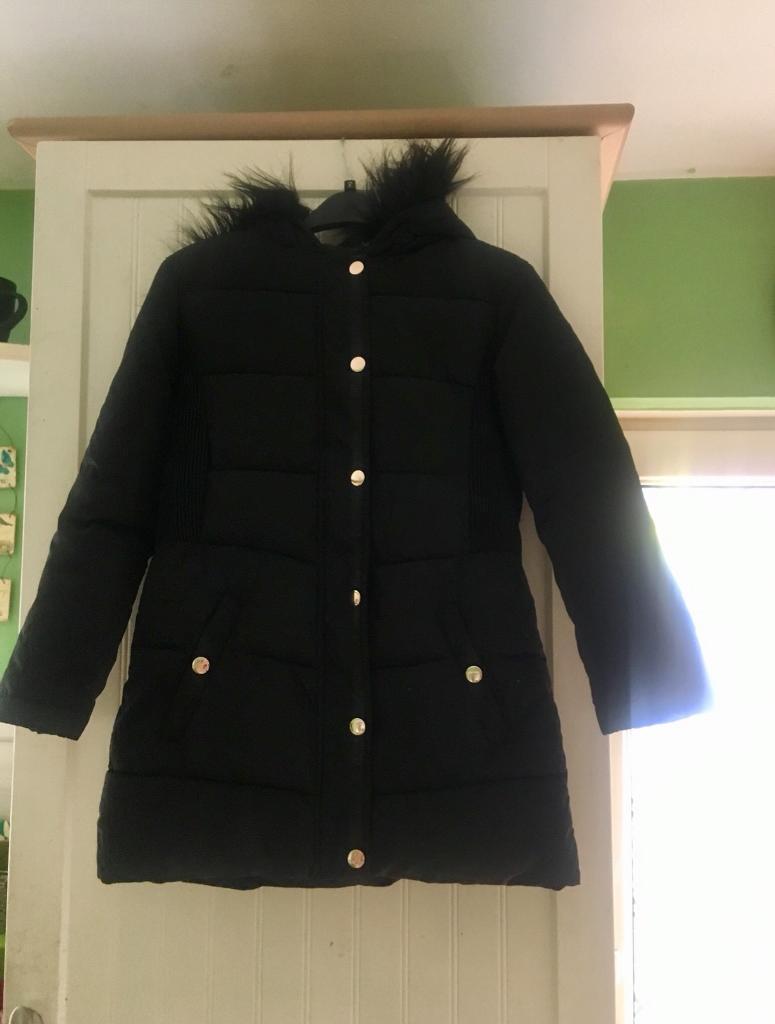 eac2c88bb1b8 Girls black padded coat