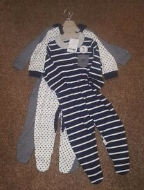 Next sleepsuits x 3 brand new with tags 6-9 months