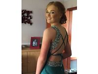 Pia Michi emerald green lace prom dress, in excellent condition, worn once