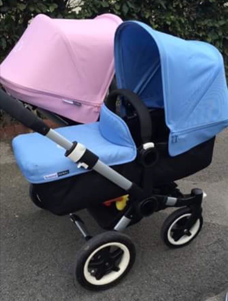 bugaboo donkey duo pink and blue in pudsey west. Black Bedroom Furniture Sets. Home Design Ideas