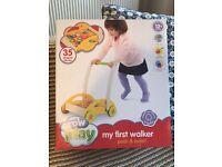 Baby walker and blocks