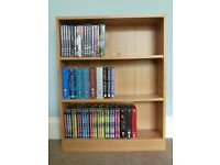 Small Light coloured Bookcase with two adjustable shelves Great for holding DVDs