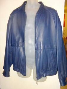 XL MENS 46 BLUE LEATHER JACKET Old Hide House Made in Canada MINT CONDITION Varsity Collegiate style