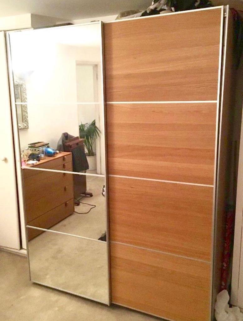 Ikea Pax Wardrobe With Half Mirrored Glass Half Ilseng Oak