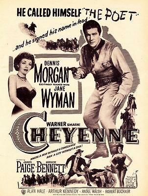 1948 Movie ad Cheyenne Dennis Morgan Jane Wyman Raoul Walsh Western