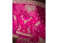 Hot Pink Asian Wedding Diamante Bridal Lengha & Gold plated Jewellery