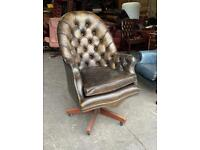 Brown / gold leather Chesterfield directors captain chair UK DELIVERY