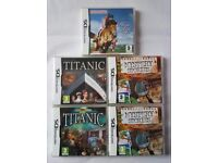 5 NINTENDO DS GAMES. INC TITANIC, HORSE LIFE & MYSTERY STORIES.