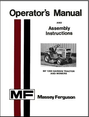Massey Ferguson Mf 1200 Garden Tractor Owners Manual Maintenance