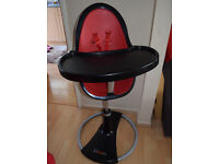 Bloom Fresco High Chair b & Black&RED For Breakfast Bar Height & Table