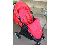 REDUCED Cybex Agis M Air 4 Red-Gold pushchair buggy with silvercross warm footmuff