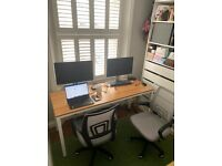 Large Computer Desk/Conference Room Table/Dining Table 160 * 60CM, Composite Wood Board (white)