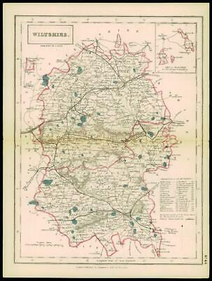 1847 - Original Antique Map WILTSHIRE Coach & Rail Roads by Chapman & Hall