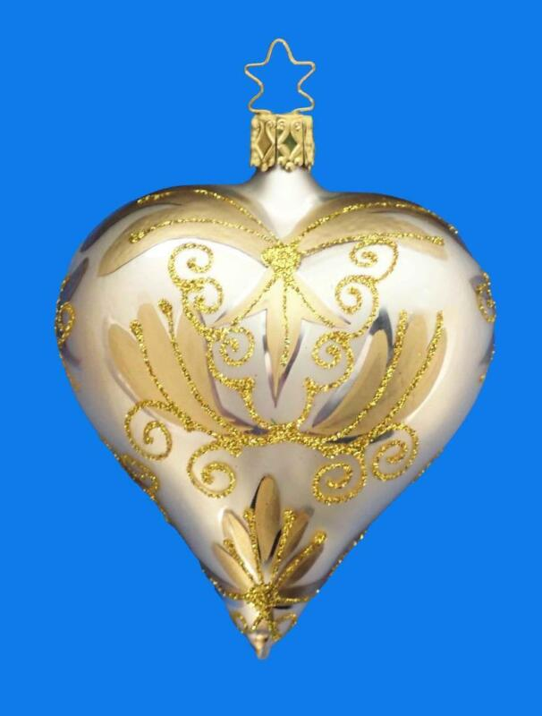 INGE GLAS CHAMPAGNE GOLD GLASS HEART GERMAN CHRISTMAS VALENTINE