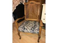 Armchair caned back antique