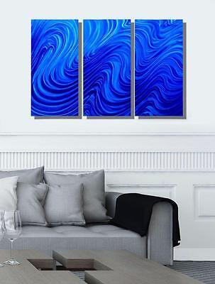 Blue Modern Metal Wall Art, Abstract Wall Sculpture Decor, Set of 3 - Jon Allen