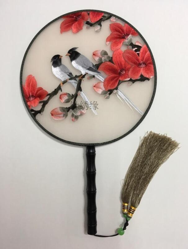 Lifelike Chinese 3D lovebird Double Side SU Embroidery Silk Hand Fan GiftNO.2