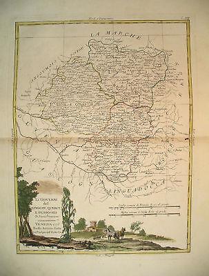 1776 Genuine Antique Hand Colored Map S Central France. Pretty Cartouche. Zatta