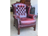 Chesterfield wing chair oxblood red DELIVERY AVAILALBE