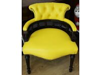 CHESTERFIELD YELLOW AMERICAN LEATHER CAPTAIN CHAIR (3 more available and a table)