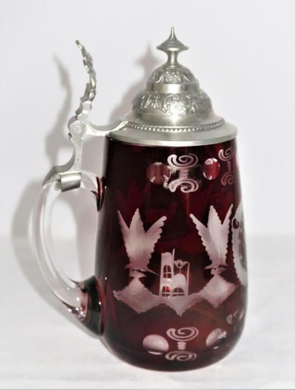 "Egermann Czech Bohemian Ruby Red Glass Cut to Clear Beer Stein w/Tin Lid, 7 3/4"""