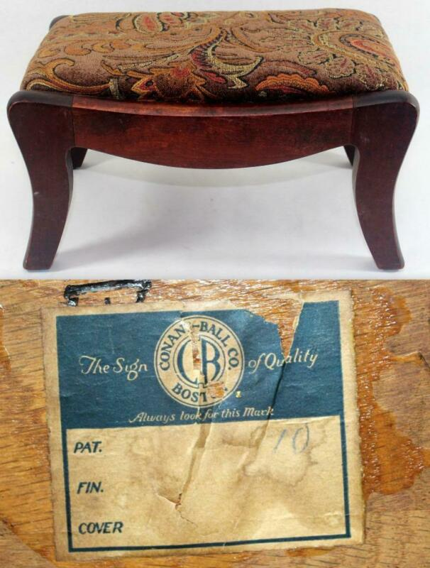 Rare Early Antique Conant Ball Upholstered Footstool