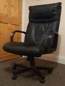 Black, Leather Desk Chair (good condition)