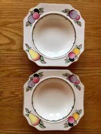 Pair Of Antique Vintage Fieldings Devon Ware Bowls COLLECT LEEDS