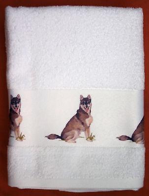 SIBERIAN HUSKY DOG LARGE HAND/GUEST TOWEL WATERCOLOUR PRINT SANDRA COEN ARTIST
