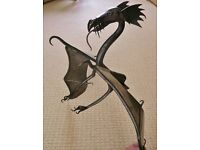 "26"" X 25"" Wrought Iron Dragon & Tail Ornament Sculpture Figurine for Wall mounted Cabinet or Unit"
