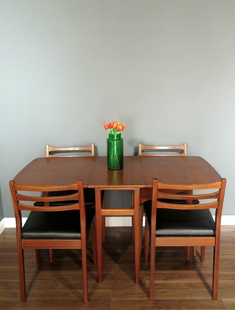 Vintage Midcentury Meredew Drop Leaf Teak Table And 4 Chairs Delivery Modern Danish Style