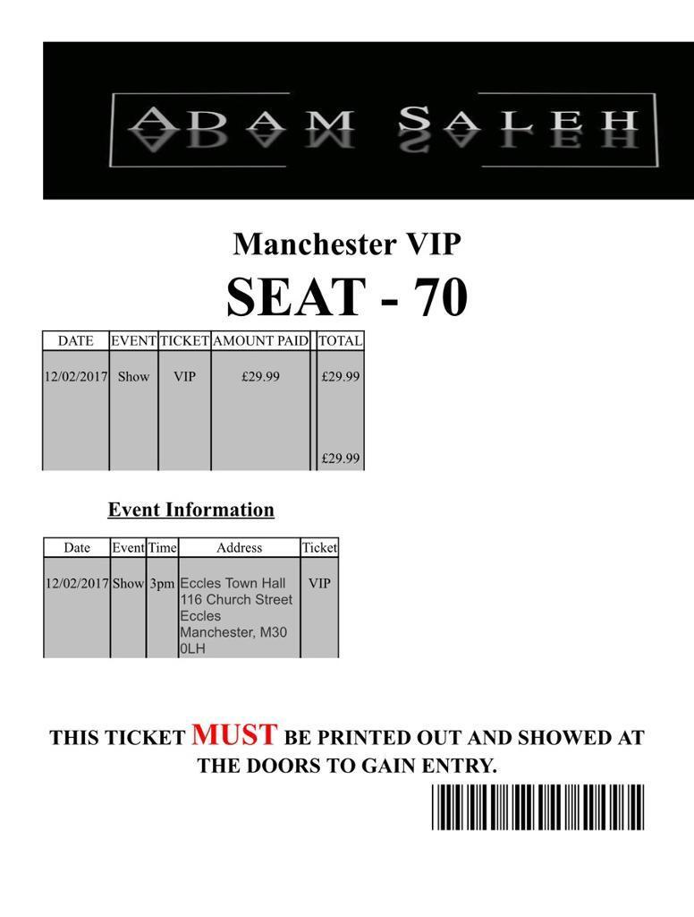 Adam Saleh Manchester Vip Tickets In Newcastle Tyne And Wear