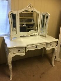 French Style Cream Large Dressing Table and Mirror