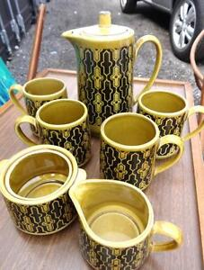 MIDCENTURY VINTAGE COFFEE SET Yellow Black HIGH POT SUGAR MILK 4 CUPS Made in JAPAN Retro Decor OAKVILLE OBO