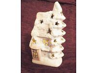 Retro Ceramic Village House White Snow covered Tea Light Pottery Candle Holder