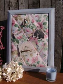 Handmade Padded Memo Board - Vintage Floral in Upcycled Wooden Frame