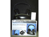 Wireless Stereo Headphones with built-in FM radio, original box, Manual and power unit.