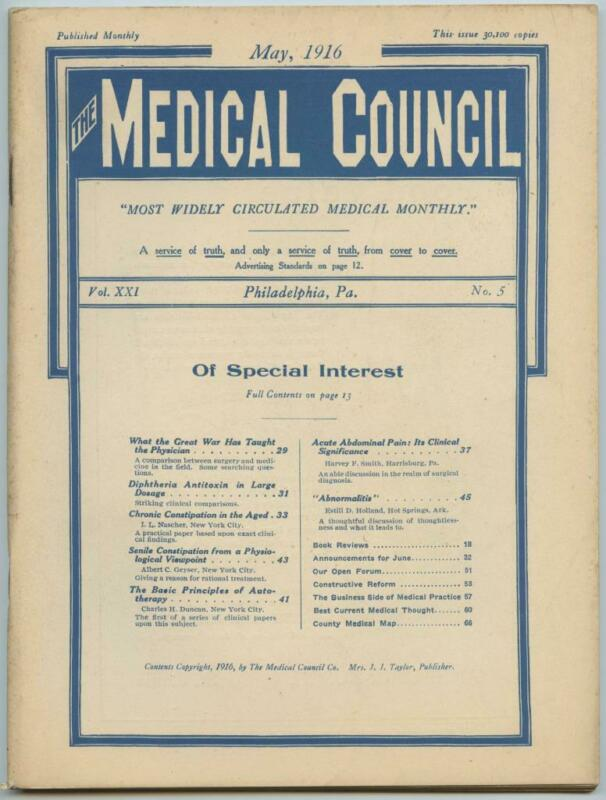 May 1916 Philadelphia Medical Council Journal Medicine Doctors Trade Magazine