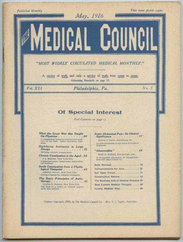 May 1916 Philadelphia Medical Council Journal Medicine Doctors Trade Magazine