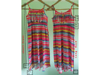 2 Bold and Beautiful Fluorescent Striped Summer / Beach Dresses BNWOT
