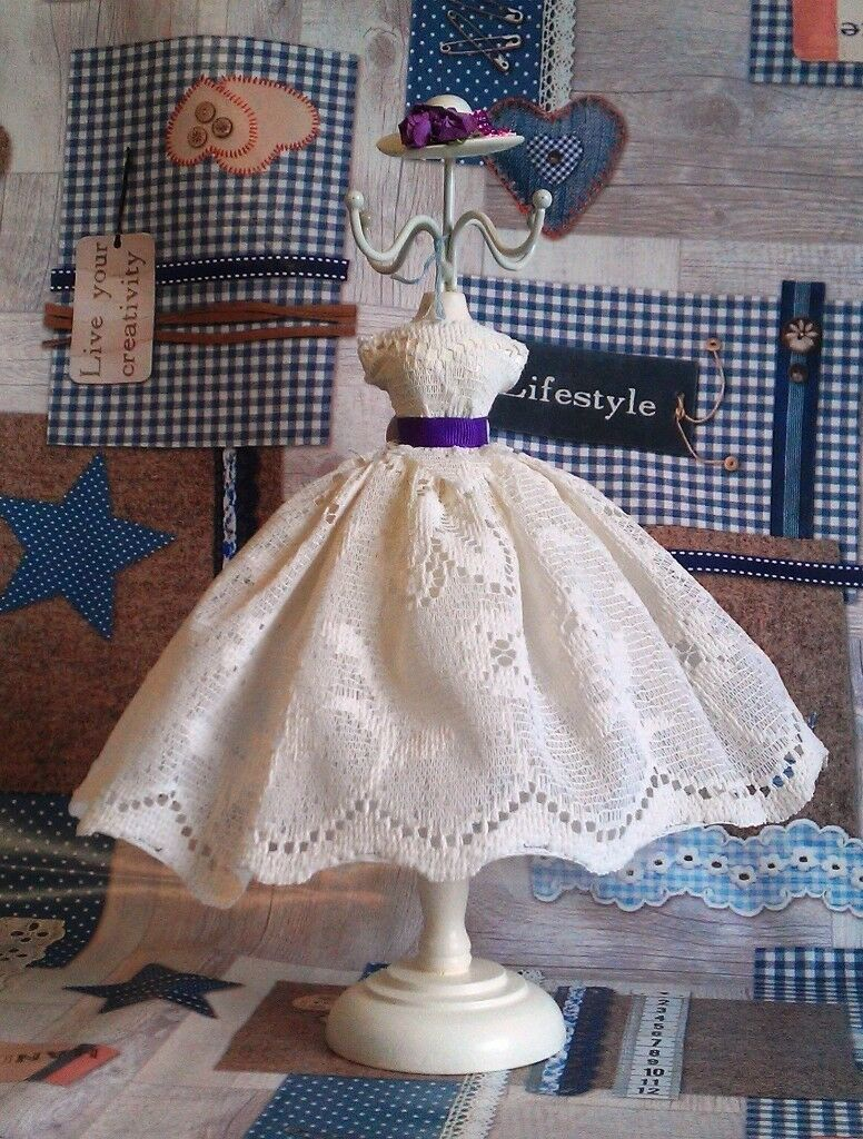 Up-Cycled 1950's Style Dress and Hat Jewelry Stand