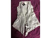 Light grey sleeveless waterfall cardigan Very size 12 New with tags
