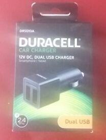 DURACELL CAR CHARGER DUAL USB BNIB £5