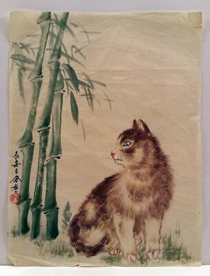 ORIGINAL Ink Japanese Painting Cute Kitten with Bamboo Handmade Paper 40s #Z1