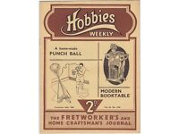 38 x 1936 hobbies weekly journals The fretworkers and craftmans journal