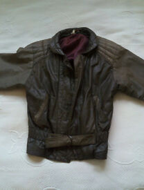 Brown Leather Jacket Coat Betty Barclay Size 10-12 - perfect for Spring