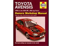 HAYNES TOYOTA AVENSIS WORKSHOP MANUAL 1998 - 2003 (52 REG) PETROL