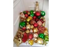 Traditional High Quality Selection Of 50 Christmas Tree Baubles Includes Tree Top Angel & Beads
